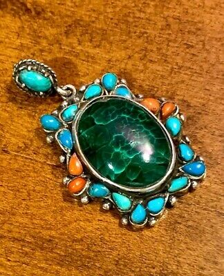 RARE!!! A Stunning Old Egyptian Antique Silver Pendant With Natural Jade Stone!