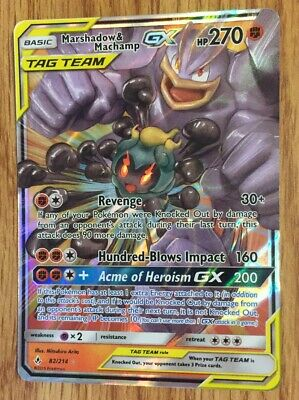 221//214 SM Unbroken Bonds Pokemon Secret Rare Marshadow /& Machamp GX