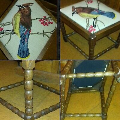 Antique Oak Needlepoint Bird Tapestry Stool Seat Chair Barley Twist Legs Unusual