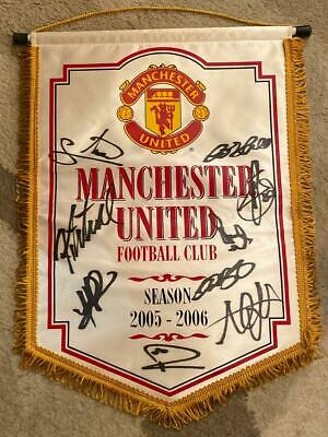 Signed Manchester United Banner Authentic With Coa 2005-2006