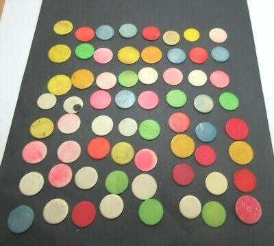64 x ANTIQUE STAINED BONE CIRCULAR GAMING COUNTERS;USEFUL FOR INLAY REPAIRS ETC