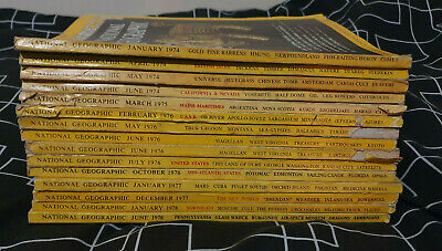Job Lot of 15 National Geographic Magazines from 1970s 74,75,76,77,78