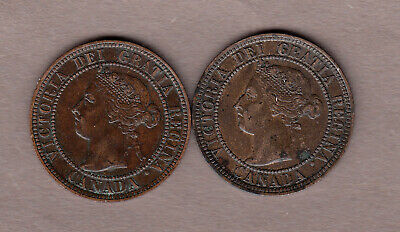 1900H & 1900 Victorian Canadian Large Cents ~ Very-Fine Condition!