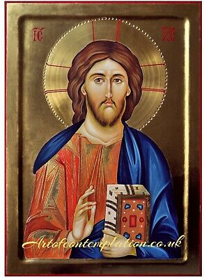 Hand painted Byzantine Icon of Jesus Christ Pantocrator 30 x 42 x 4 cm