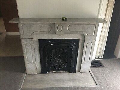 VINTAGE MARBLE FIREPLACE SURROUND WHITE DECORATIVE  With Cast Iron Insert