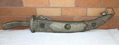 Massive Old Chinese Silvered & Bejewelled Ceremonial Dragon Sword