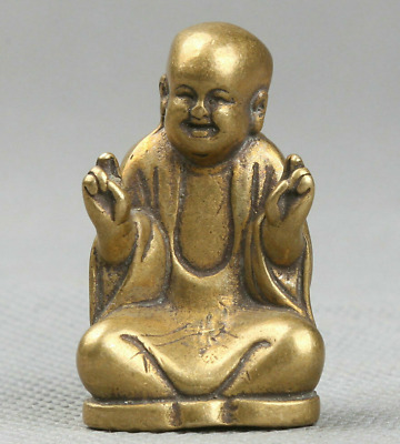 39MM Collect Curio Chinese Small Bronze Buddhism Maitreya Happy Buddha Statue