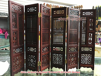 Collectibles Old Decorated Handwork Wood Hollow Out Carved Flower Screen Model