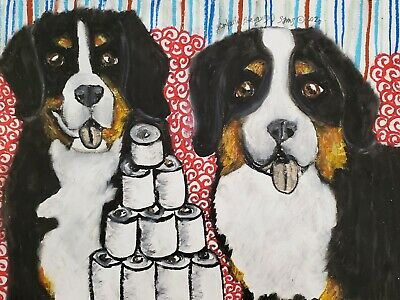 BERNESE MOUNTAIN DOG Quarantine Mask Original 9x12 Pastel Painting Artist KSams