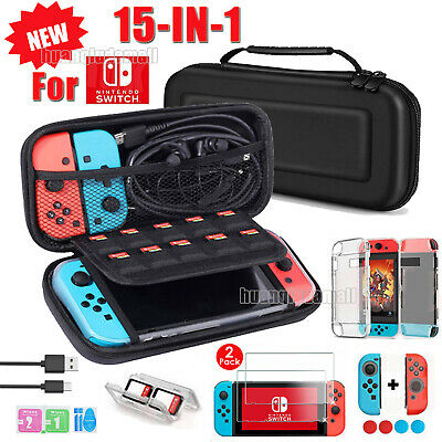 For Nintendo Switch/Lite Travel Case Bag+ HD Protectors + Cable + Accessories UK