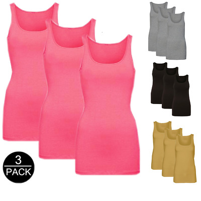 Basic (3 Pack) Damen Long Tank Top Unterhemd aus Baumwolle Longshirt Shirt  S-XL