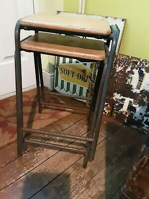 "VINTAGE RECLAIMED OLD SCHOOL METAL LAB STOOLS X2 1970's 23"" HIGH PINE TOP PATINA"