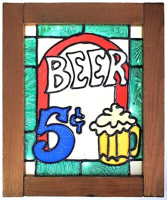 Stained Glass Beer Sign w Wood Frame 10 x 12