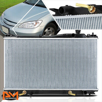 Black Fans 01-05 Honda Civic ES EM 2//4dr Manual Aluminum 2 Row Radiator