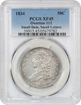 1834 50c PCGS XF45 (Small Date, Small Letters, O-111) Bust Half Dollar