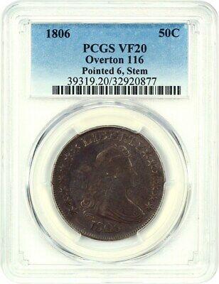 1806 50c PCGS VF20 (Overton 116, Pointed 6, Stem) Great Type Coin