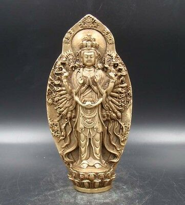 Exquisite Handmade Carving Thousand-hand Kwan-yin India Copper Brass Statue