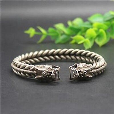Collectable OLD Tibetan style silver Copper Carved Dragon head Bracelet