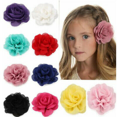 Kids Headwear Chiffon Rose Flower Hair Clip Girls Princess Hairpins Barrettes#