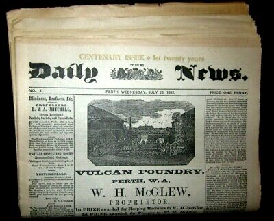 5 Daily News Perth Western Australia 1st - 5th 20 Years Facsimile Editions 1982