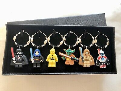 6 Unique Star Wars Lego Wine Gin Glass Charms Birthday Christmas Gift Boxed