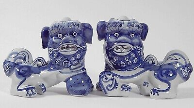 (Pair) Chinese Blue & White Porcelain FOO DOG Figurines