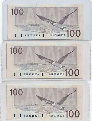3  x Sequential 1988 Canada Bank Note $100 Thiessen Crow UNC