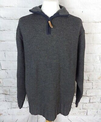FAT FACE grey chunky zip neck lambswool blend jumper L large chest 48""