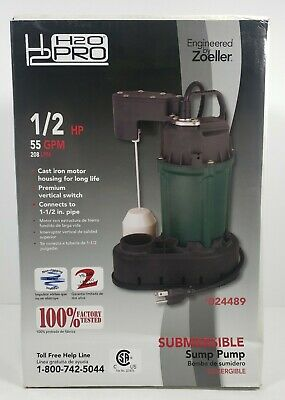 Zoeller H2O Pro 1/2 HP Submersible Sump Pump 55 GPM #24489