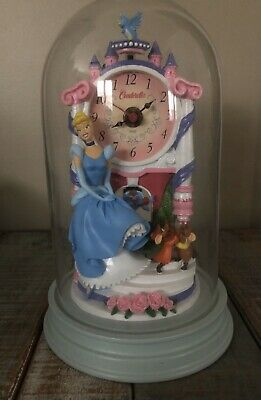 Disney Princess Cinderella Anniversary Glass Dome Mantle Clock Battery Operated