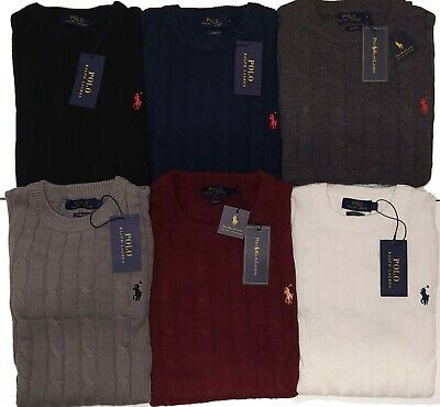 BNWT Polo Ralph Lauren Crew Neck Cable Knit Jumper Sweater Long Sleeve Slim Fit