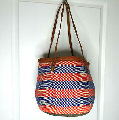 VTG Woven Wool Red White Blue Market Bucket Tote Bag Boho Hippie Leather Strap