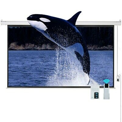"100"" 16:9 Electric Motorized Projector Projection Screen Remote Control Movie HD"