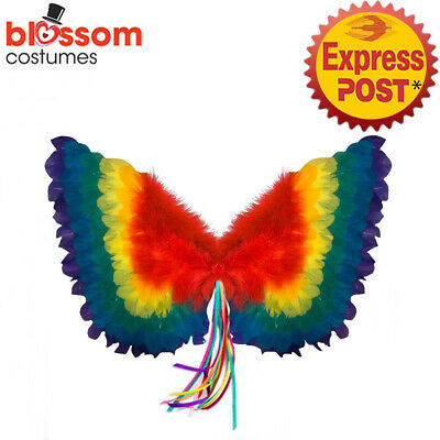 AS322 Adult Rainbow Feather Angel Costume Wings Mardi Gras Pride Festivals Party