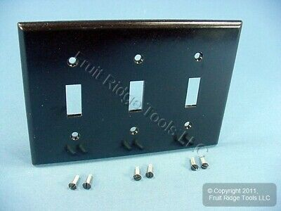 Leviton Brown 3-Gang Toggle Switch Cover Plastic Wall Plate Switchplate 85011