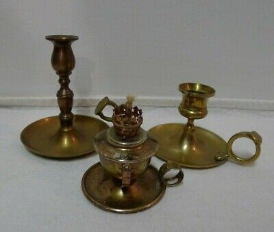 Vintage Two Brass Candle Holder and One Oil Lamp with no Glass (Set of 3)