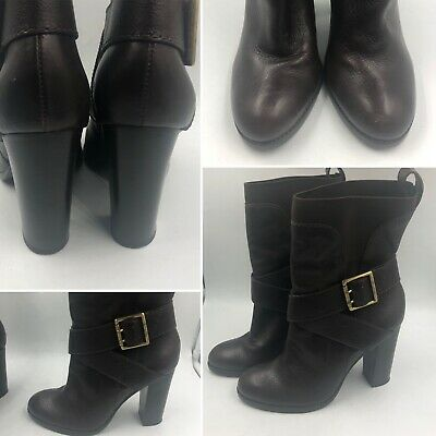 🌈Juicy Couture Size 39 7 Brown Leather Ankle Biker Boots Tall Rock Chick Womens