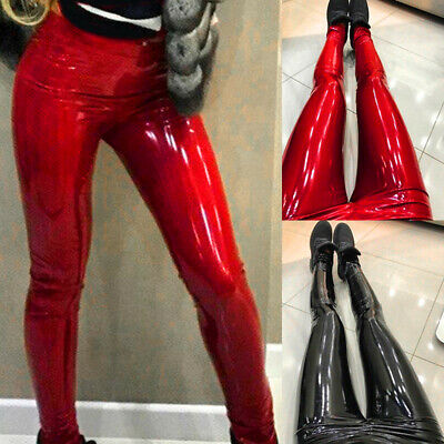 Womens Faux Leather Pencil Pants Skinny Tight Trousers Wet Look Club Leggings