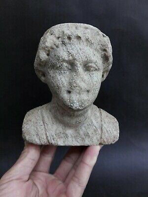Roman Style Art Antiquities Sculpture Marble Head Man Antique Beautiful Rare Old