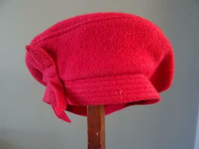 Vintage 1940s Hat Beret Young Girls Dusty Pink Wool Bow 40s WW2 Era Evacuee