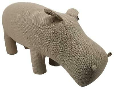 Large Knitted Animal stool / Footstool - Dark Apricot Hippo - 115 cm x 51 cm