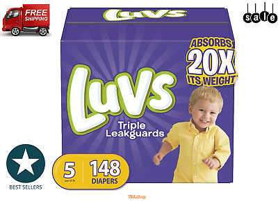 Luvs Ultra Leakguards Disposable Baby Diapers, Size 5,148Count ONE MONTH SUPPLY