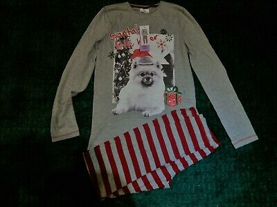 NEW F&F Girls Christmas Pyjamas 13 14y Santa Little Helper DOG Pajamas Nightwea
