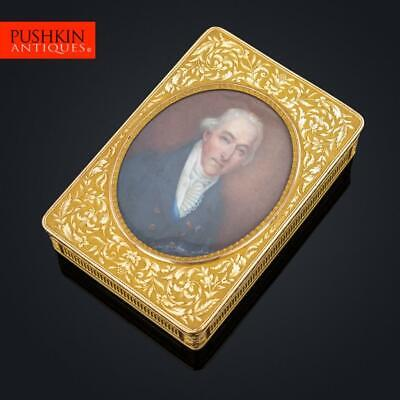 ANTIQUE 19thC FRENCH ROYAL 18K GOLD & ENAMEL SNUFF BOX WITH MINIATURE c.1820
