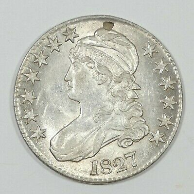1827 Capped Bust/Lettered Edge Silver Half Dollar ALMOST UNC with Punchmark