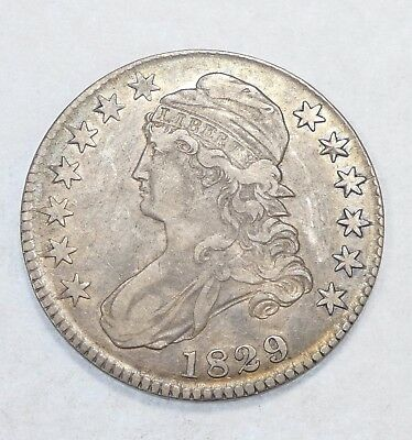 1829 Capped Bust/Lettered Edge Half $ EXTRA FINE Silver 50-Cents