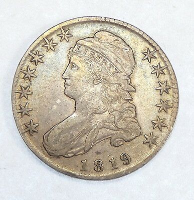 1819 Capped Bust/Lettered Edge Half $ EXTRA FINE Silver 50-Cents