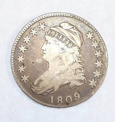 1809 Capped Bust/Lettered Edge Half Dollar FINE+ Silver 50-Cents