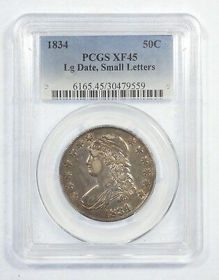 1834 Capped Bust/Lettered Edge LARGE Date SMALL Letters Silver 50c PCGS XF 45