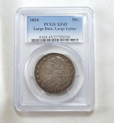 1834 Capped Bust/Lettered Edge Silver Half $ w/Large Date & Letters PCGS XF 45